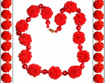 Vintage Lucite Necklace Celluloid Plastic Red Beaded Big Bold Mad Men Garden Party Rockabilly Wedding Dress
