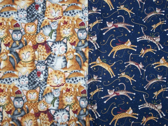 Destash Purrfect Christmas Cat Fabric Nearly 2 Yards
