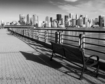 New York City Skyline with Railing and Bench Fine Art Print
