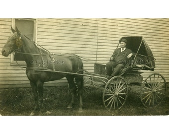 Antique Photo | Man with HORSE and CARRIAGE | Black and White Vintage Photograph