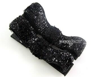 Black Glitter Hair Clips - Hair Barrettes Toddler Hair Clips - No Slip Grip for Fine Hair Tuxedo Bow