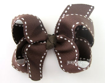 Brown Hair Bow Brown 3 Inch Hair Bow - Chocolate Brown Saddle Stitch - Baby Toddler Girl - Boutique Hair Bow Non Slip Alligator Clip