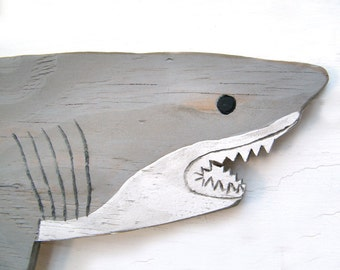 Large Wooden Shark Nautical Wall Decor Outdoor Art Shark Wall Art Shark Sign Pool Decor Great White Shark Beach House Decor Shark Wall Decor
