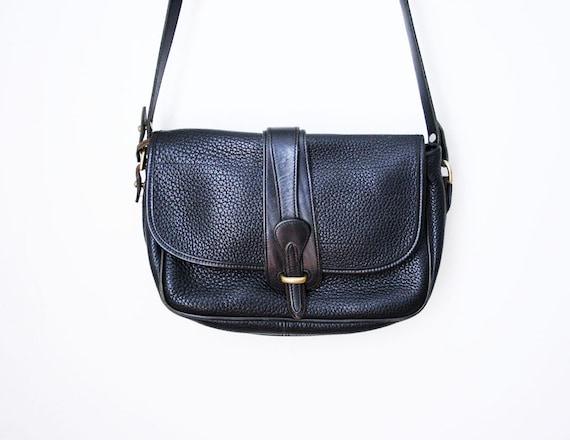 Vtg 80's Dooney & Bourke Black All Weather Leather Cross Body Bag
