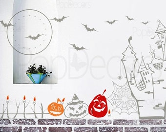 Halloween Decals 2 - Holiday Vinyl Wall Art Decor Stickers by Pop Decors