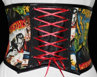 Waist cincher. Horror print waspie. Limited edition. vampires. monsters. wolfman