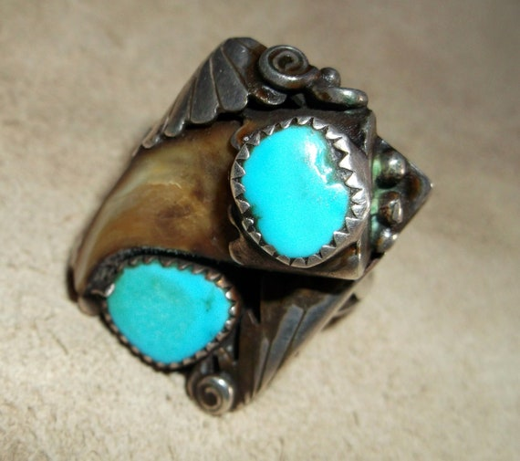 Awesome Genuine Bear Claw Sterling Silver & Turquoise Ring sz 11.75
