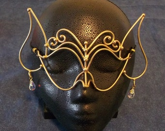 Bronze & Crystal Elf Mask