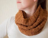 Cowl Scarf - SALE 50% OFF - Crochet Cowl Scarves - Toffee Cowl Scarf