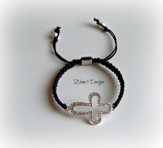 Trendy Dazzling Silver Crystal Cross Black Macrame Adjustable Bracelet, Christian Bracelet