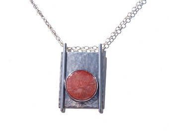 Coral and Sterling Silver Pendant New Handcrafted Jewelry Arts and Crafts Style Necklace with Red and Pink Utah Horn Coral