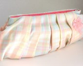 SPRING SALE - Pleated Clutch in Pink, Blue, and Green Spring Pastel Plaid
