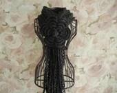 Crochet Lariat Flower Scarf -  Dark Charcoal Crochet Scarf