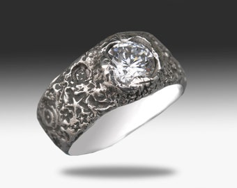 Women's Custom Sterling Silver Ring with Diamond