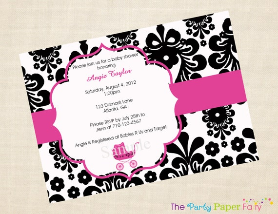 Black and White Damask Baby Shower Invitation with Hot Pink Carriage by The Party Paper Fairy