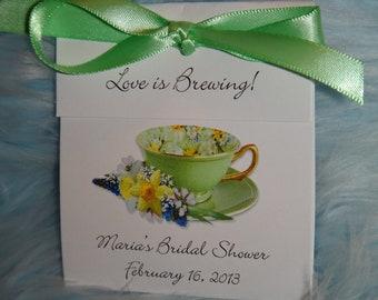 Green Springtime Teacup Tea Bag Bridal Shower Wedding Party Favors Christmas in July CIJ