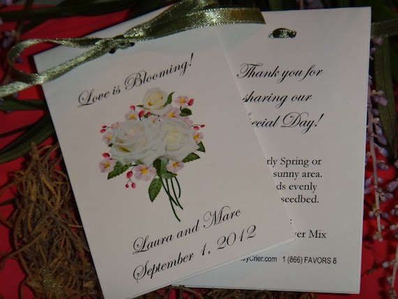 French Bliss Roses Design Wildflower Seed Packets For Bridal