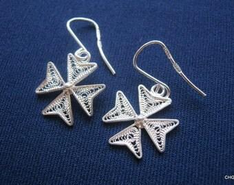 Handmade Sterling Silver Filigree Maltese Cross Earrings