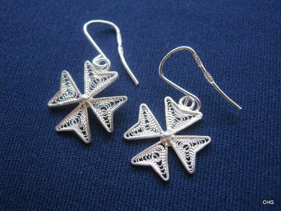 Bijoux Argent Filigrane Malte : Maltese cross earringssilver earringsfiligree