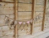 It's a girl burlap banner in white lettering, baby shower banner, photo prop, bunting, sign,