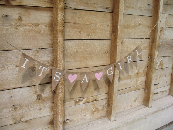 to it 39 s a girl burlap banner in white lettering baby shower banner