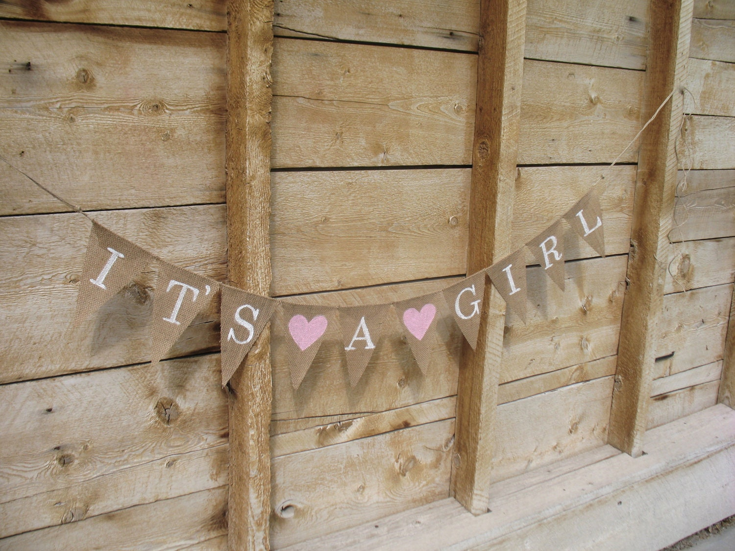 it 39 s a girl burlap banner in white lettering baby by atcompanyb