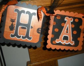 Happy Halloween or Happy Birthday Pumpkins Cats Banner