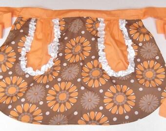 Chocolate Sherbet Print Full Pocket Reversible Half-Skirt Apron