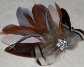 Chocolate Mocha Brown Beige Gray Goose Feather Boutique Bridal Hair Clip Fascinator Photp Prop