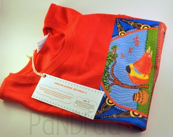 size medium, elephant T-shirt, Printed T-shirt, Round, Polo Neck, India, Inspired, Women's T-Shirt, Size M, Red