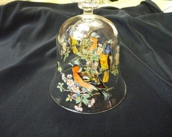 VINTAGE Hand Painted Glass BIRD BELL