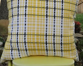 Yellow, Black & White Vintage Plaid Fabric 16x16 Pillow Cover - Bifftastica