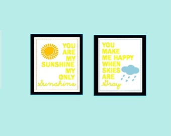 """You are my sunshine prints, Set of Two  8x10"""" prints, nursery, or playroom, or as a gift, Great fro Boy or Girl Room or Both"""