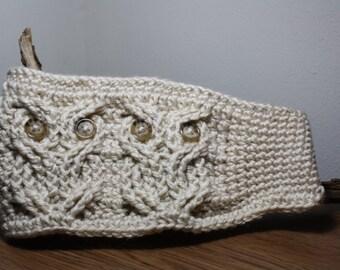 Owl Ear Warmer -Owl Headband- Owl Head Wrap- owl hat -ear warmer, turban-crochet- handmade-cabled owl headband