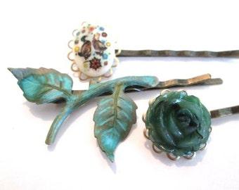 Woodland Hair Accessories Branch Leaves Hairpins Ducks Bobby Pins Green Clips Hair Jewelry Handmade Bridal Wedding