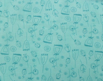 Robert Kaufman Fabric, On A Whim, Aqua, AAS-7572-70, Flowers, Girl, Floral, Children