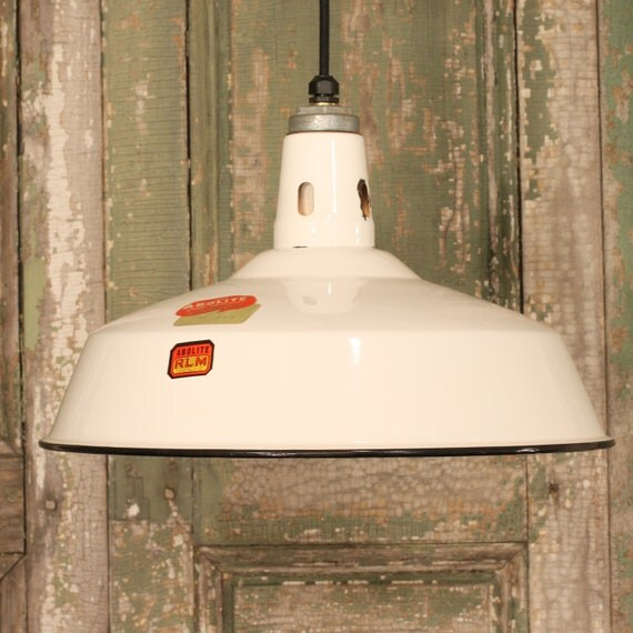 Industrial Lighting with Vintage White Enamel Shade From Nashville, TN