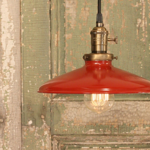 Red Kitchen Lamp: Pendant Light With Red Enamel Shade
