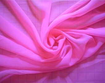Silk Chiffon Fabric -- Shocking Pink Remnant 3/4 Yard