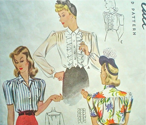 Buttoned Blouse Pattern 1940s Stylish Basic Vintage Sewing Pattern McCall 4175 Size 16 Bust 34