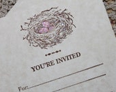 5 Little Birdnest With Eggs...Invitation Flat Card With Envelope Pink