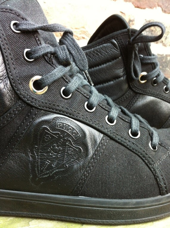 Black leather and canvas GUCCI hightop sneakers - womens 10 mens 8