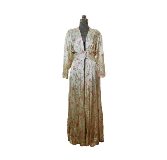 Vintage 1930s - 1940s Dressing Gown - Floral Liquid Satin Robe Dress Full Length Maxi Hostess Small