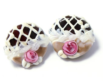 Glass shank buttons chocolate candies with pink flowers set of two