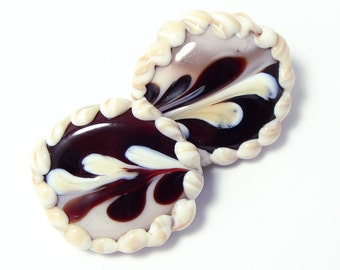 Glass shank buttons chocolate candies set of two