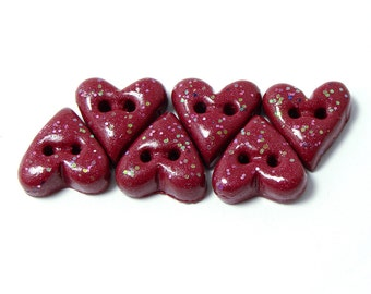 Polymer clay buttons purplish red hearts with glitter set of six