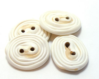 Glass buttons - lampwork round bales ivory white set of four