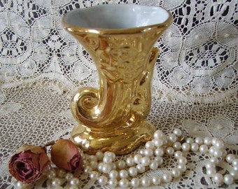 Vintage Petite Cornucopia Vase, Victorian Romantic, gold glaze, small, elegant