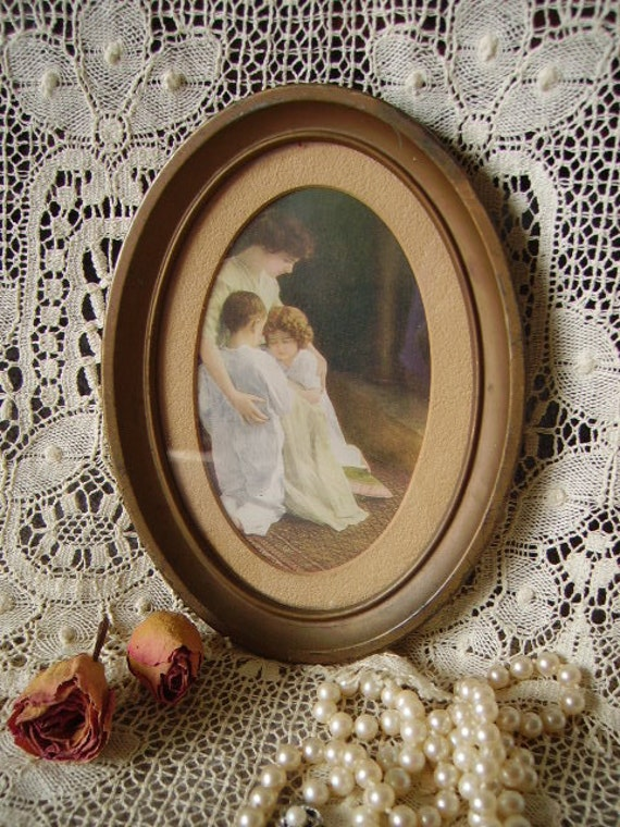 Vintage French Country Cottage Mother and Children Oval framed Print, small, patina, aged