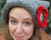 Chunky Gray Wool Kitten Hat with Detachable Wool Rose